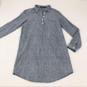 Blue Striped Cotton Long Sleeve Dress Small